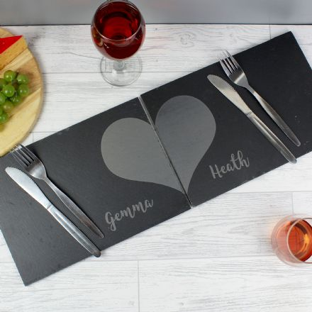 Two Hearts Slate Placemat Set